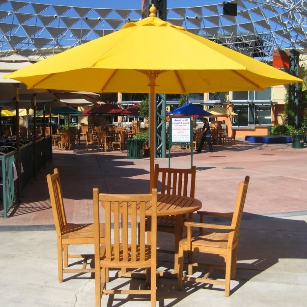 Most Up To Date Rectangular Patio Umbrellas Intended For Orange Rectangular Patio Umbrella With Solar Lights And Teak Ladder (View 11 of 20)