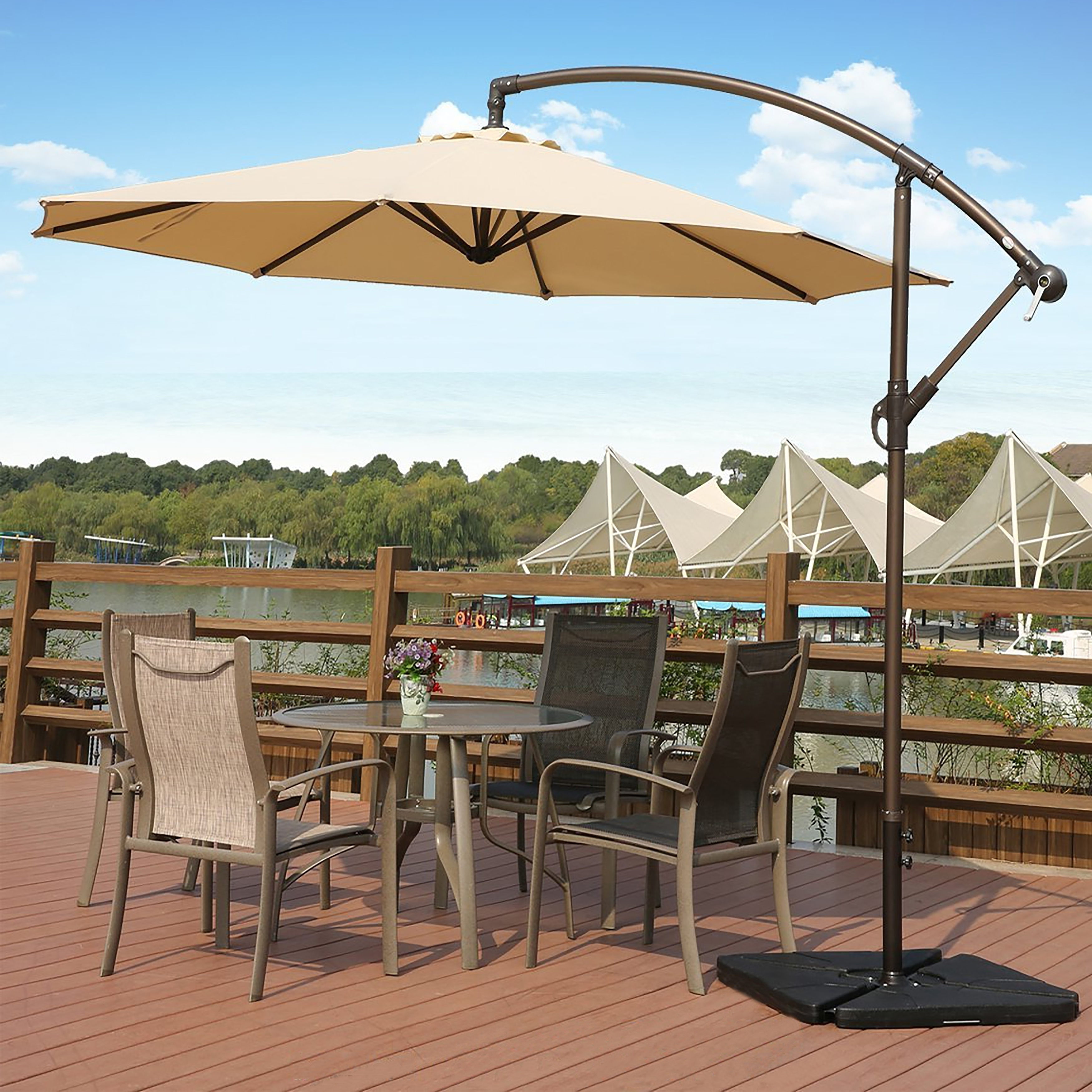 Most Up To Date Shop Weller 10 Ft Offset Cantilever Hanging Patio Umbrellawestin Pertaining To Hanging Offset Patio Umbrellas (View 15 of 20)