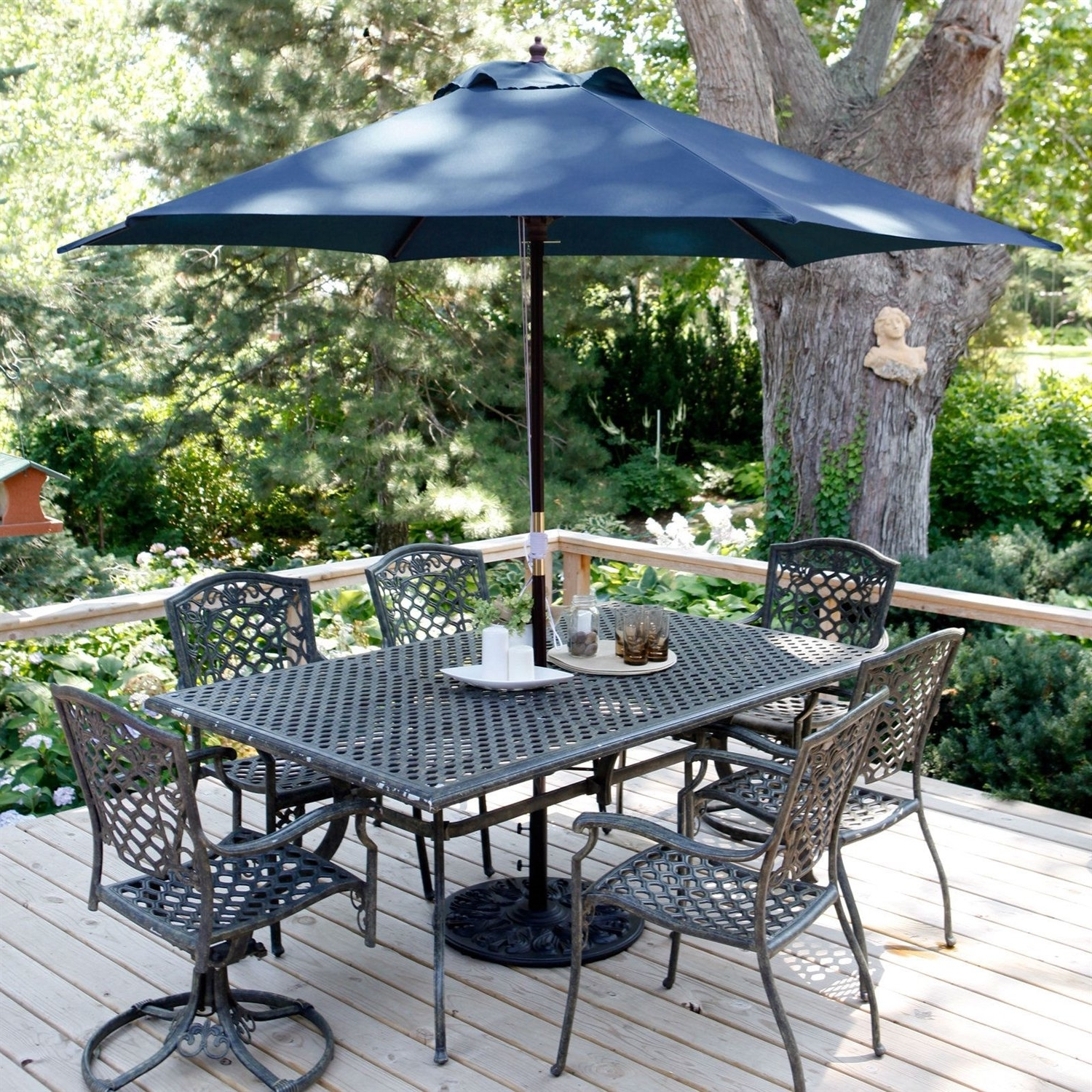 Navy Blue 11 Ft Patio Umbrella With Antique Bronze Pole And Base With Newest Blue Patio Umbrellas (View 14 of 20)