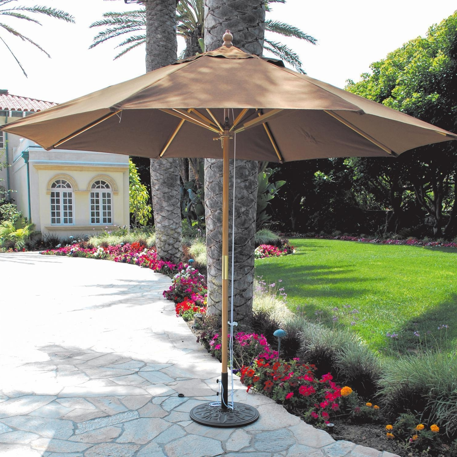 Newest Galtech 11 Ft Wood Patio Umbrella With Pulley Lift – Light Wood Inside 11 Ft Patio Umbrellas (View 7 of 20)