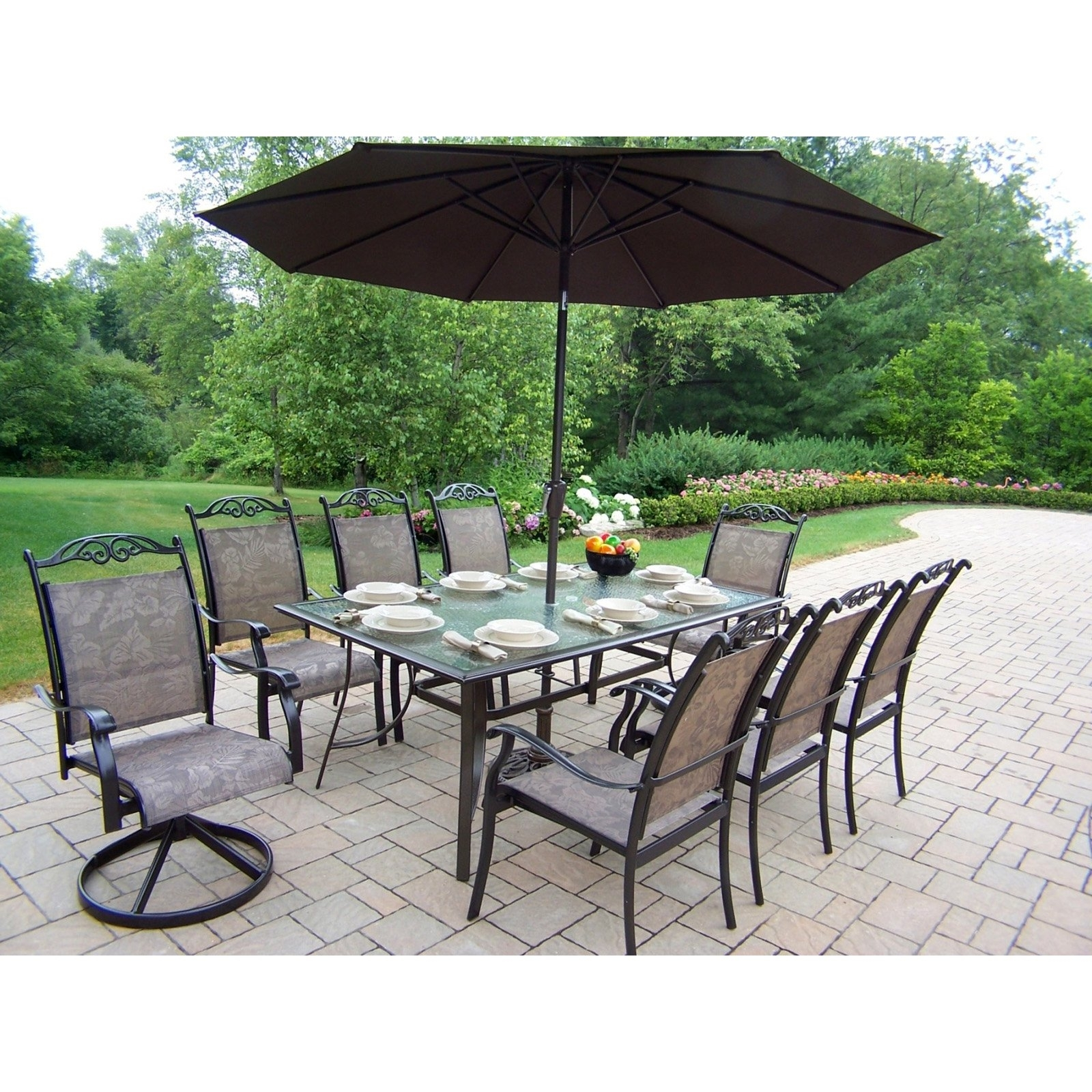 Newest Oakland Living Cascade Patio Dining Set With Umbrella And Stand In Patio Dining Sets With Umbrellas (View 9 of 20)