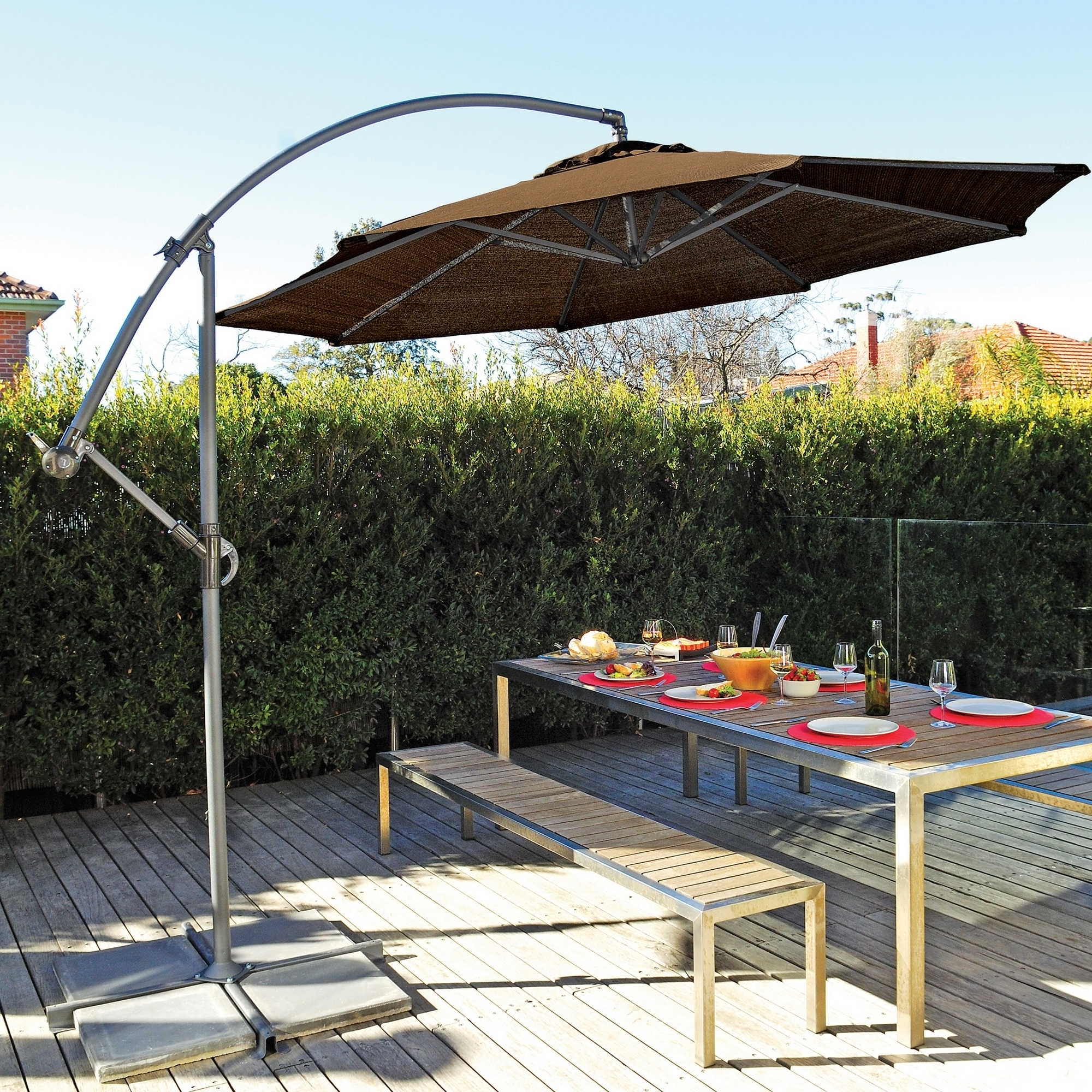 Newest Offset Patio Umbrellas With Base With Knowing What Is Offset Umbrellas — Cookwithalocal Home And Space Decor (View 5 of 20)