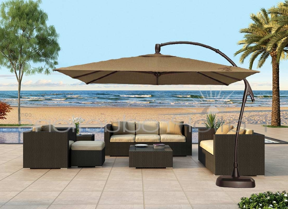 Newest Patio Ideas Large Cantilever Umbrella With Brown – Arelisapril In Jumbo Patio Umbrellas (Gallery 7 of 20)