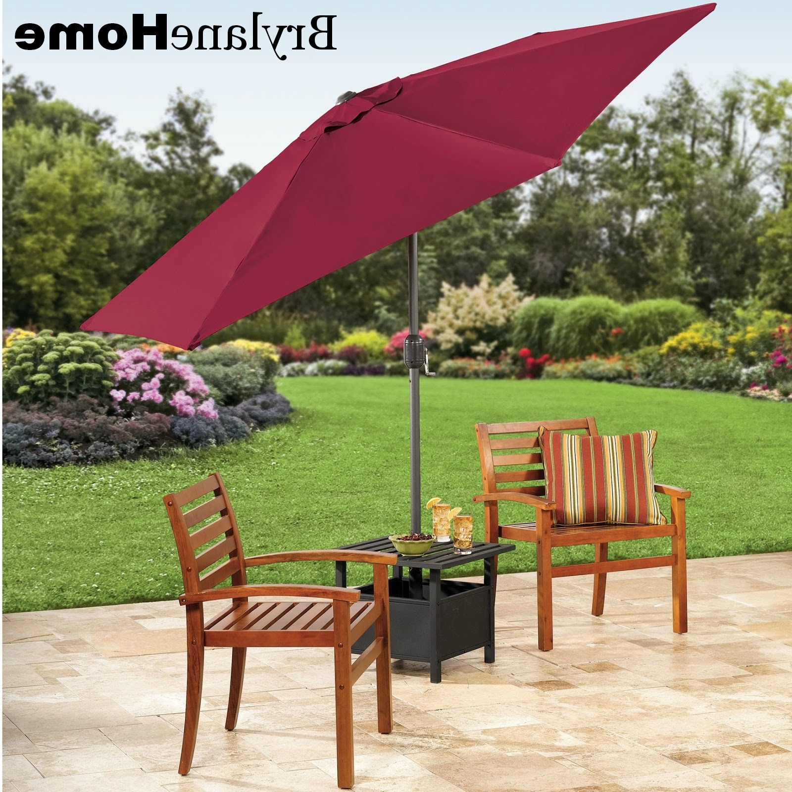 Newest Patio Umbrella Stand Side Tables In The Funky Monkey: Giveaway: Brylanehome 9' Patio Umbrella And (View 11 of 20)