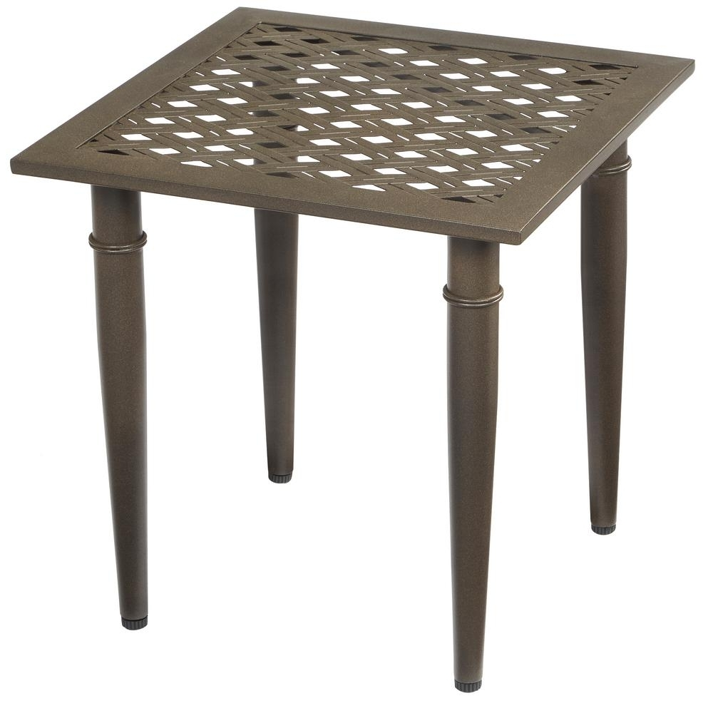 Newest Patio Umbrellas With Accent Table Intended For Hampton Bay Oak Cliff Metal Outdoor Side Table 176 411 20Et – The (Gallery 3 of 20)