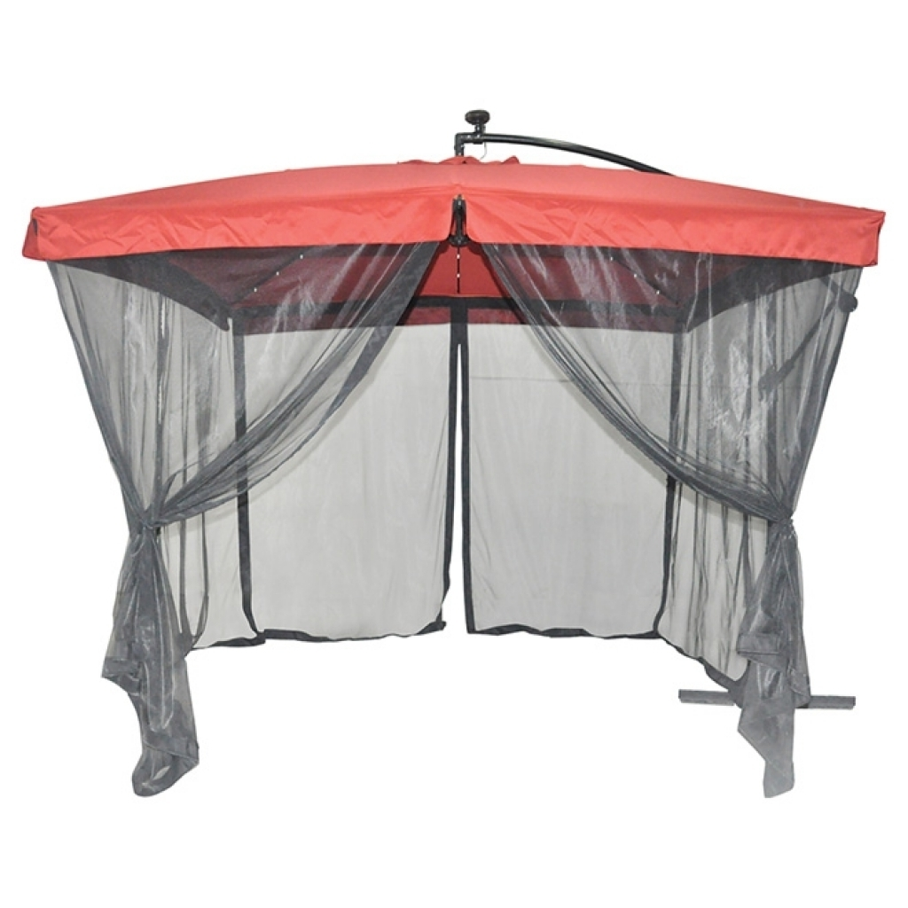 Newest Patio Umbrellas With Netting Intended For Uberhaus Solar Lighted Cantilever Patio Umbrella With Netting (Gallery 11 of 20)