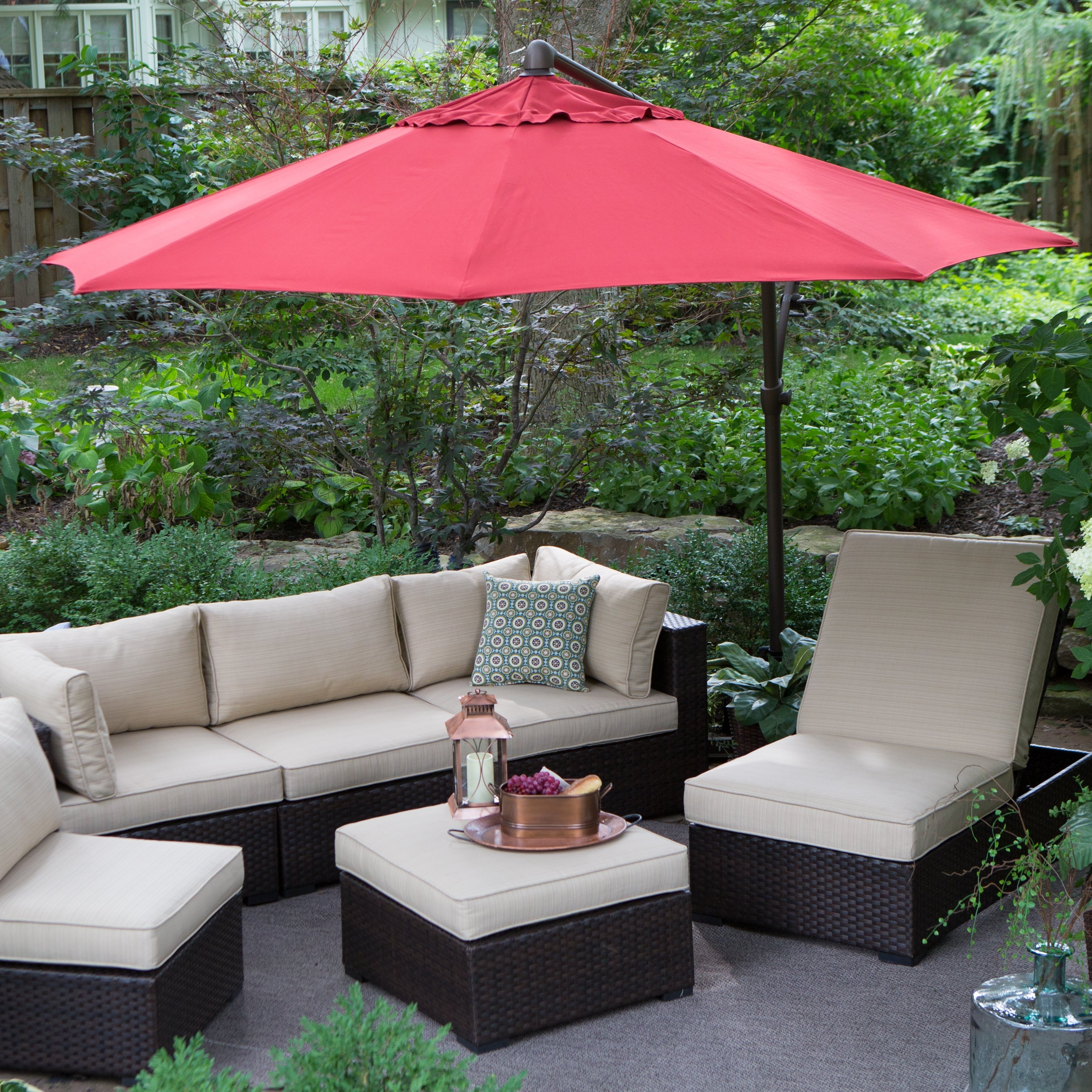 Newest Sunbrella Patio Umbrellas At Walmart Intended For Treasure Garden 10 Ft. Obravia Cantilever Octagon Offset Patio (Gallery 3 of 20)