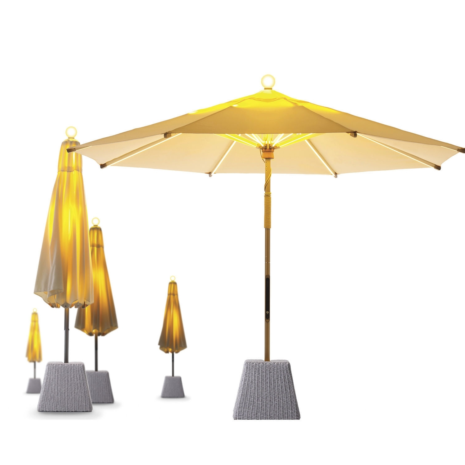 Newest Sunbrella Teak Umbrellas In Commercial Patio Umbrella / Teak / Aluminum / With Heater – Ni (Gallery 8 of 20)