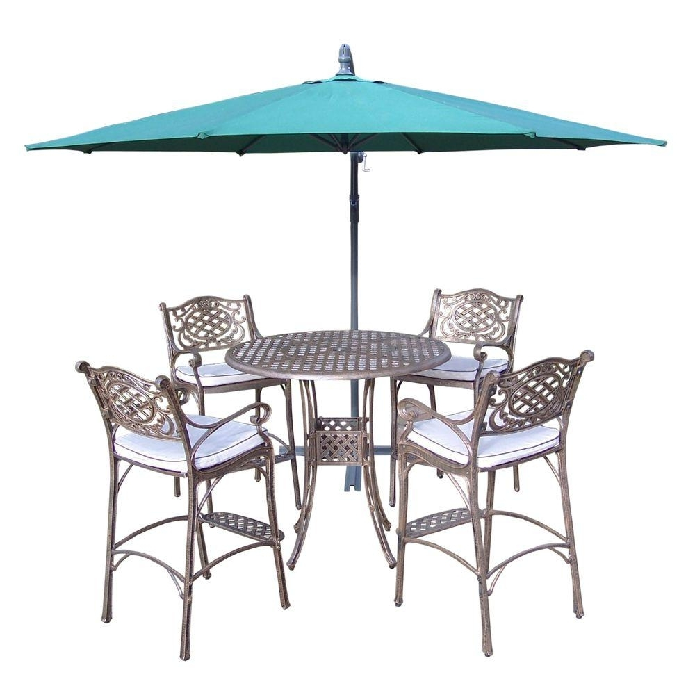 Oakland Living Elite Cast Aluminum 6 Piece Round Patio Bar Height Intended For Popular Patio Umbrellas For Bar Height Tables (View 9 of 20)