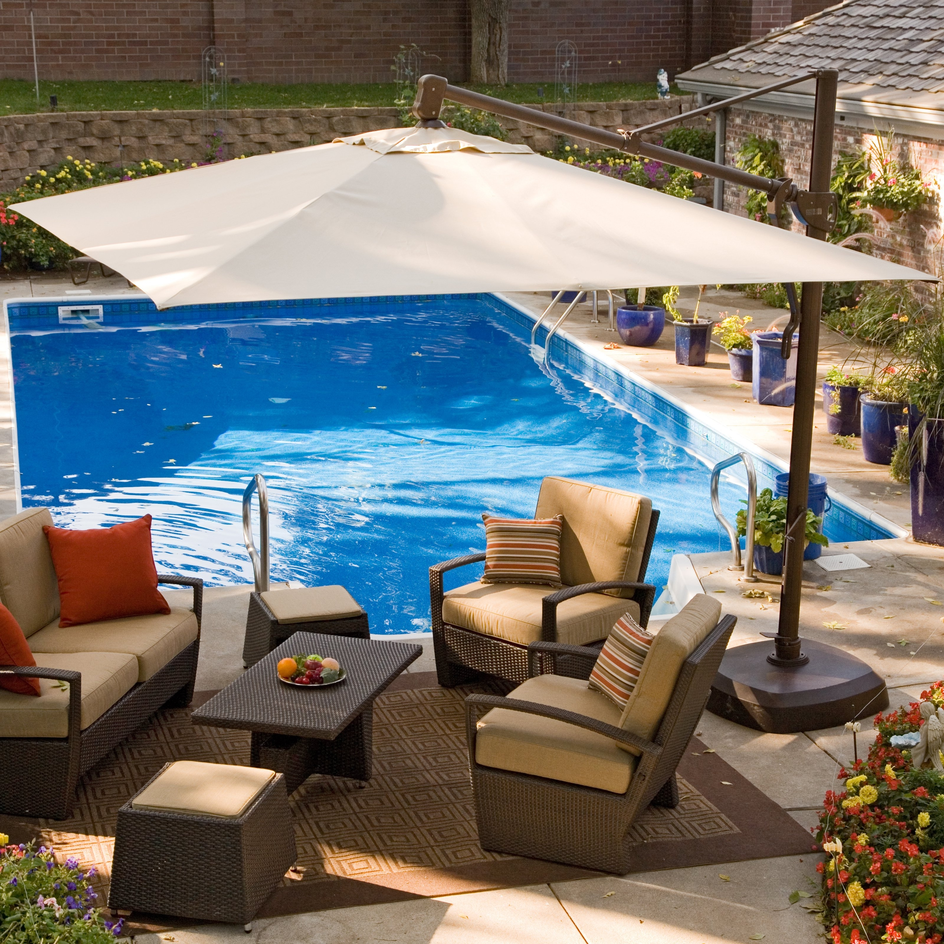 Offset Patio Umbrellas With Base Within Widely Used Patio & Garden: Stunning Offset Patio Umbrella Shields Guest (View 15 of 20)