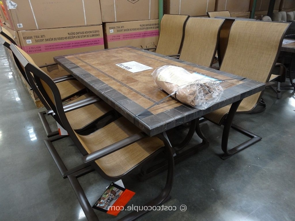 Outdoor Dining Patio Ideas With Oil Rubbed Bronze Iron Costco Dining Pertaining To Most Recent Sunbrella Patio Umbrellas At Costco (View 10 of 20)