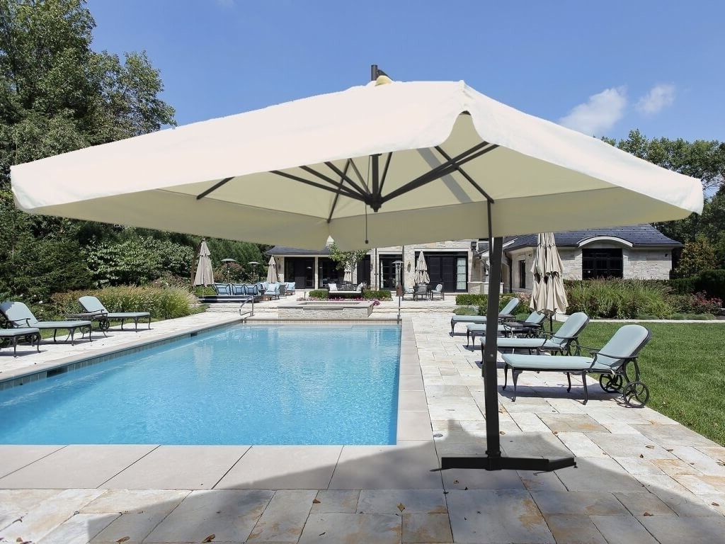 Outdoor & Garden: White Square Patio Cantilever Umbrella For Home Intended For Fashionable Square Cantilever Patio Umbrellas (View 15 of 20)