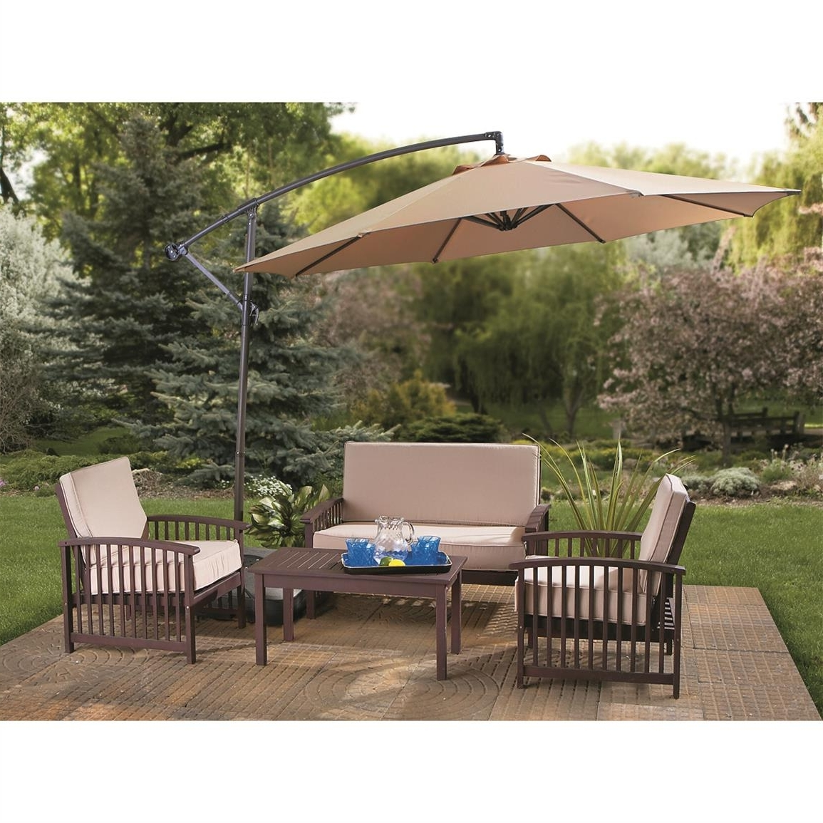 Outdoor: Patio Cantilever Umbrella Enchanting Outdoor Furniture A Throughout Most Recent Patio Furniture Sets With Umbrellas (View 19 of 20)