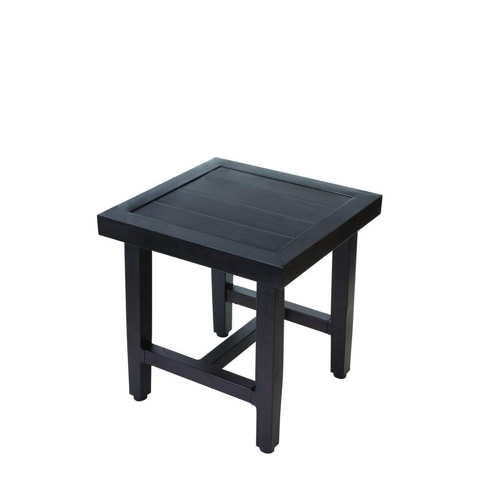 Outdoor Side Tables – Patio Tables – The Home Depot Within Fashionable Patio Umbrellas With Accent Table (View 12 of 20)