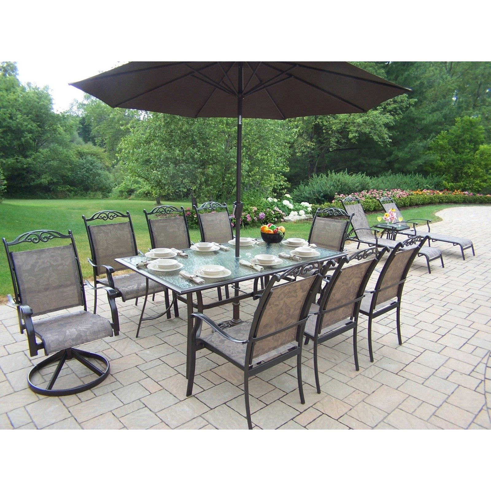 Patio Dining Sets With Umbrellas Throughout Fashionable Patio Furniture Walmart Patio Furniture Sets Patio Dining Luxury (View 12 of 20)