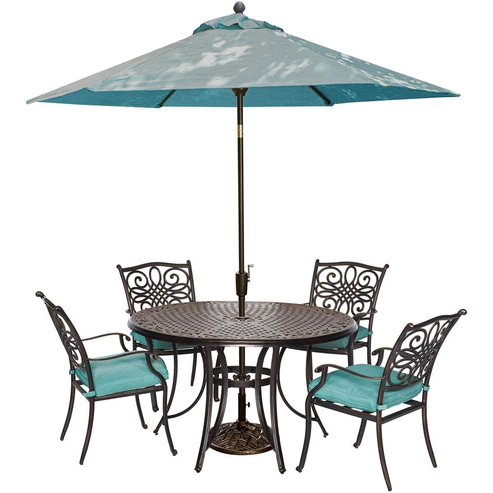 Patio Dining Umbrellas For Preferred Hanover Traditions 5 Piece Outdoor Round Patio Dining Set And (View 8 of 20)