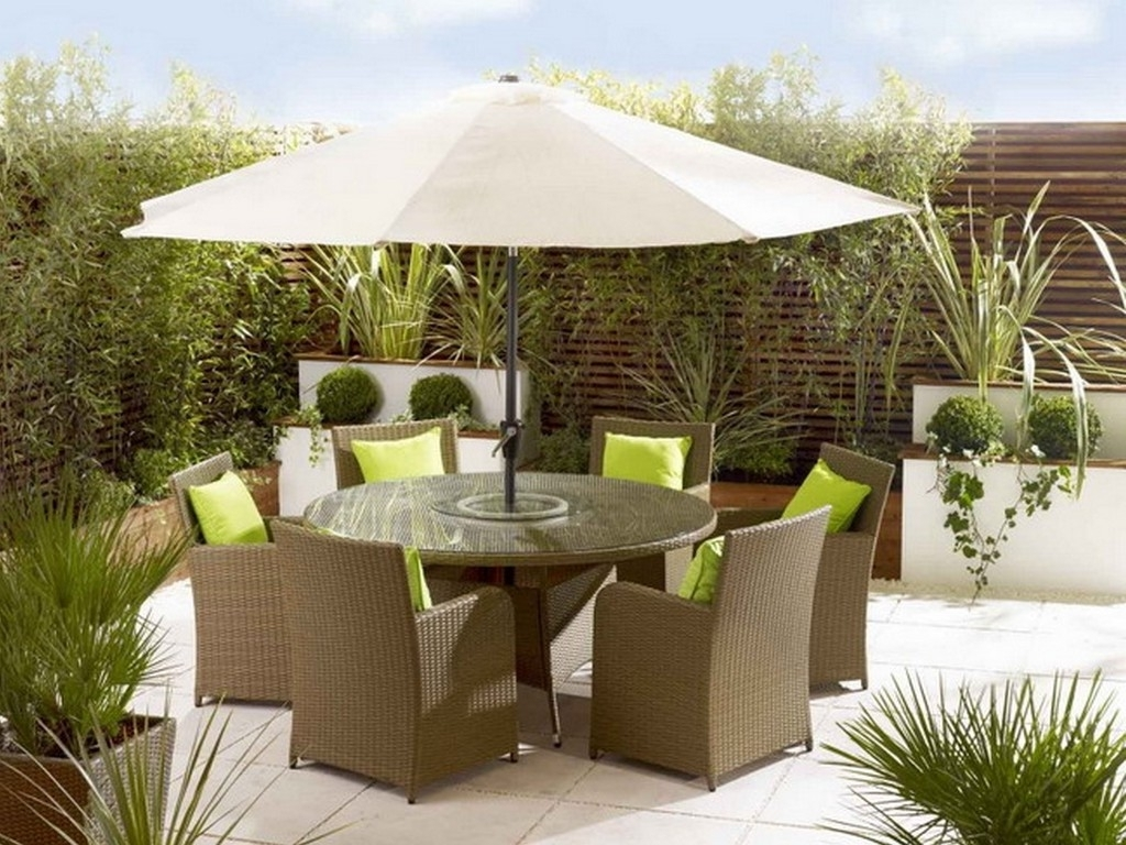 Patio Furniture Sets With Umbrella Accessories Within Widely Used Patio Furniture Sets With Umbrellas (View 11 of 20)