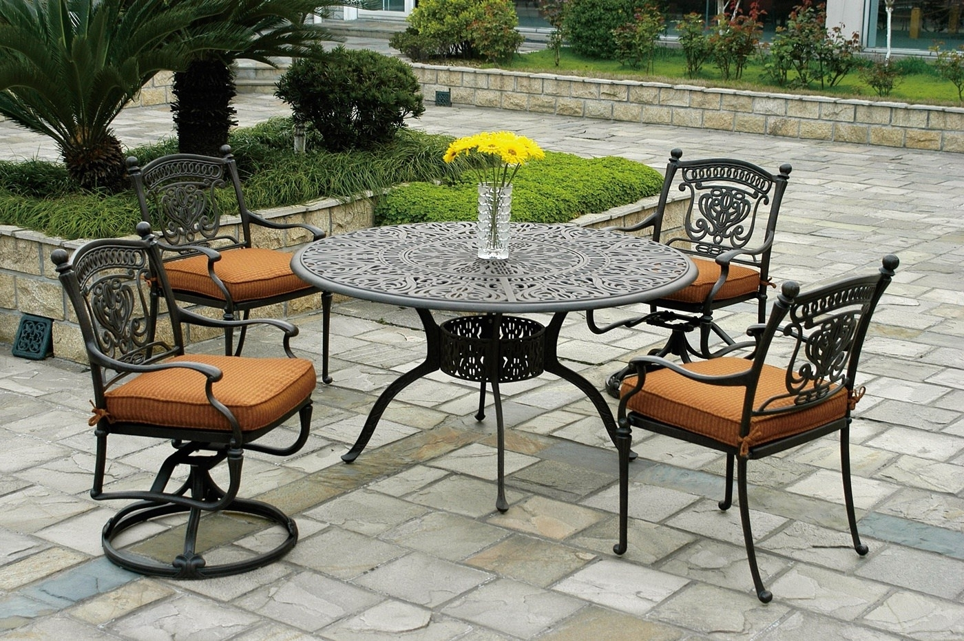 Patio Furniture Sets With Umbrellas Regarding Popular Gray Outdoor Table With Large Size With Chairs Small (View 13 of 20)