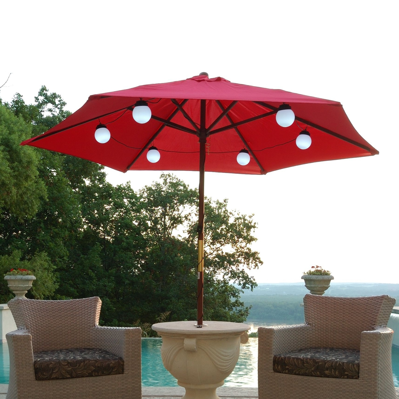Patio Living Concepts 080 Bright White Led Solar Powered Umbrella Inside Most Popular Patio Umbrellas With Solar Lights (View 9 of 20)