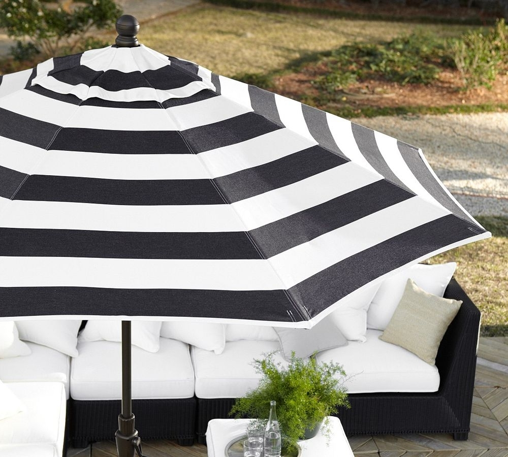 Patio Striking Blacknd White Striped Umbrella Photo Concept – Rafael Intended For Recent Black And White Striped Patio Umbrellas (View 14 of 20)