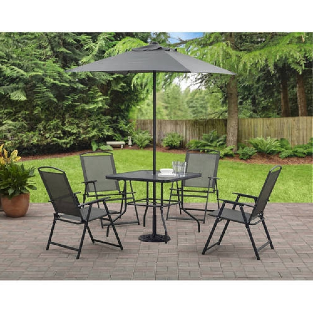Patio Table And Chairs With Umbrellas Within Most Recently Released Durango 6 Piece Patio Set (Includes Dining Table, Chairs & Umbrella (View 15 of 20)
