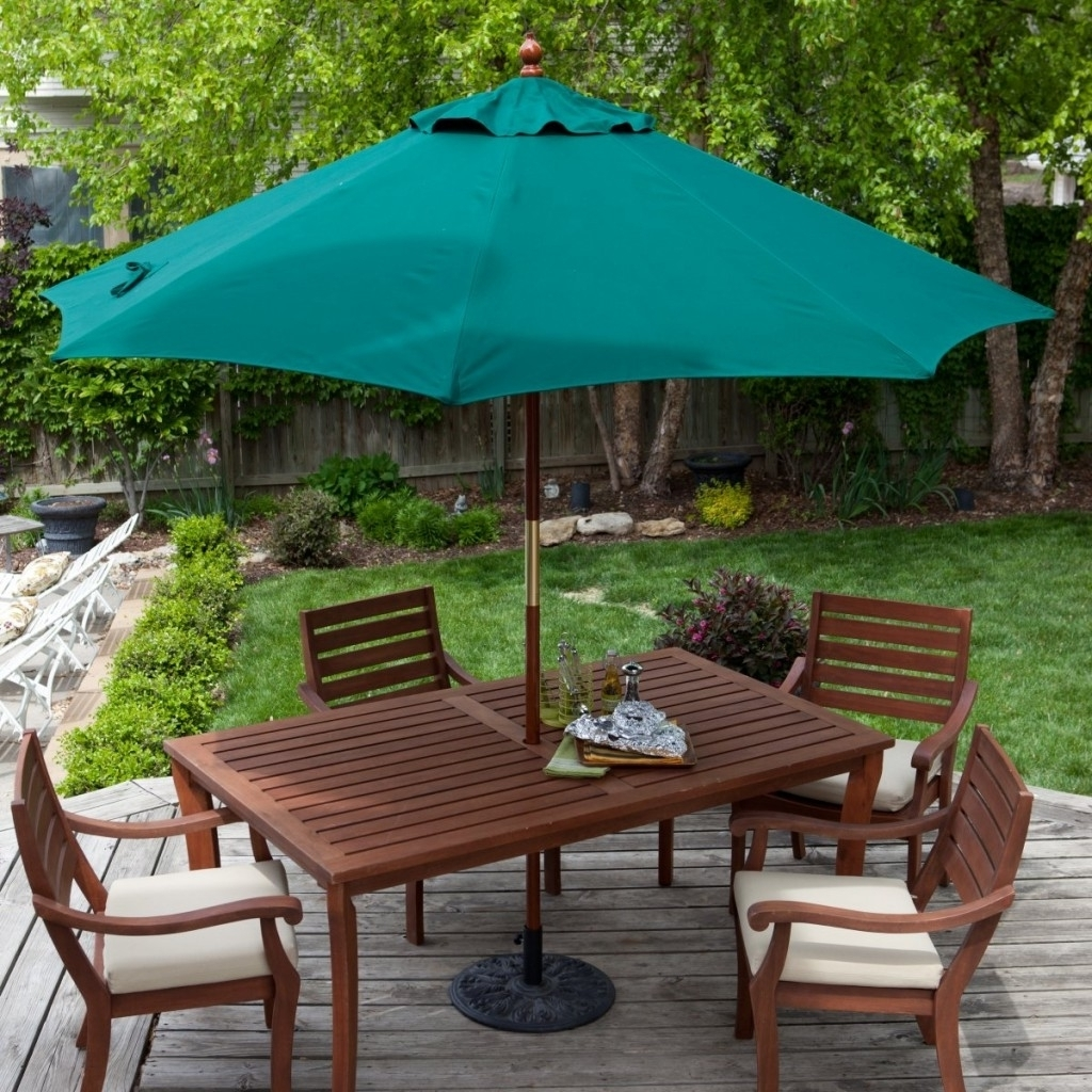 Patio Tables With Umbrella Hole Throughout Newest Deck Patio Table Umbrella : Life On The Move – Ideal Patio Table (View 13 of 20)