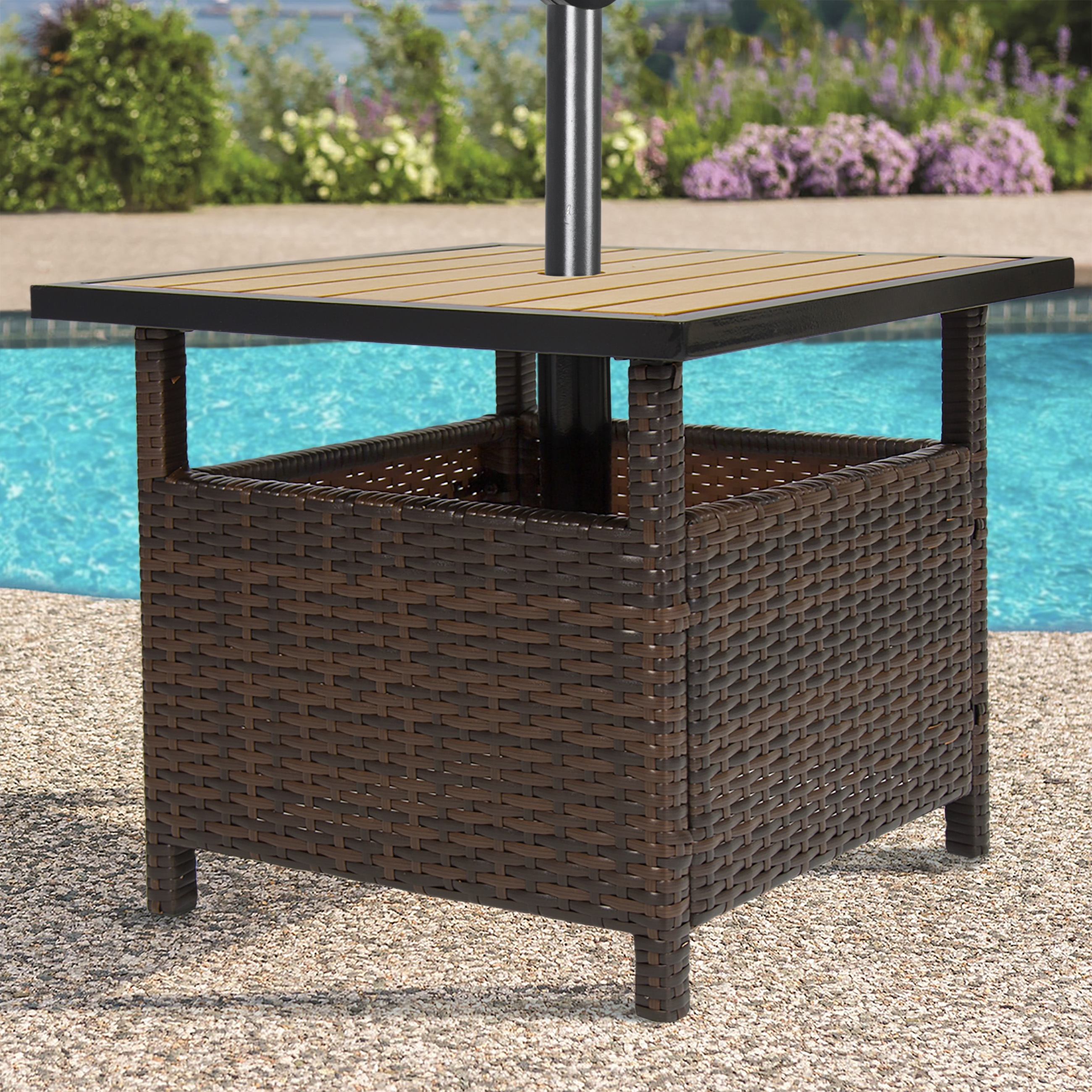 Patio Umbrella Side Tables In Well Known Best Choice Products Outdoor Furniture Wicker Rattan Patio Umbrella (View 3 of 20)