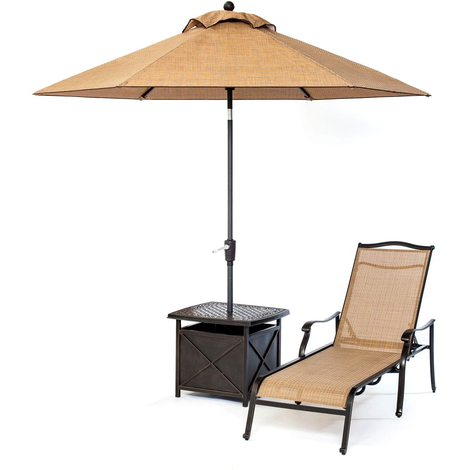 Patio Umbrella Side Tables With Recent Monaco Chaise Lounge Chair With Side Table And Umbrella Zero Gravity (View 14 of 20)