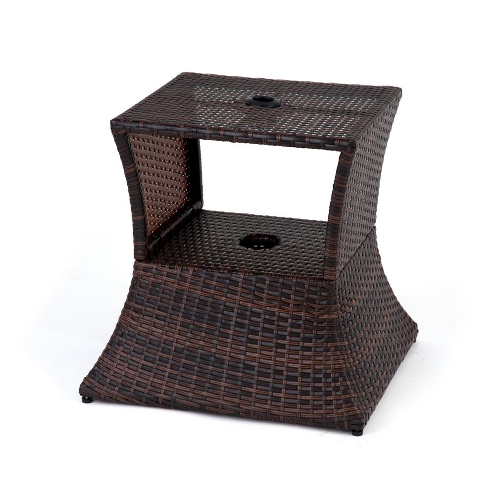 Patio Umbrella Side Tables With Regard To Trendy Trademark Innovations 17 In (View 18 of 20)