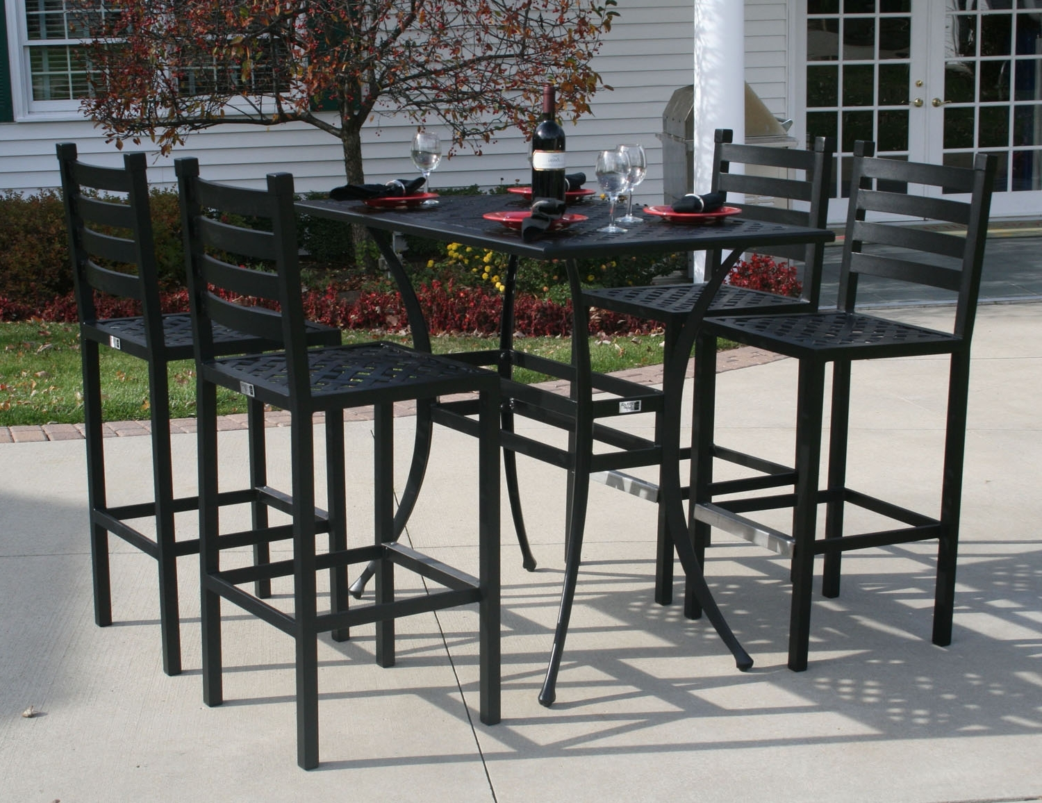 Patio Umbrellas For Bar Height Tables Regarding Favorite Ansley Luxury 4 Person All Welded Cast Aluminum Patio Furniture Bar (View 13 of 20)