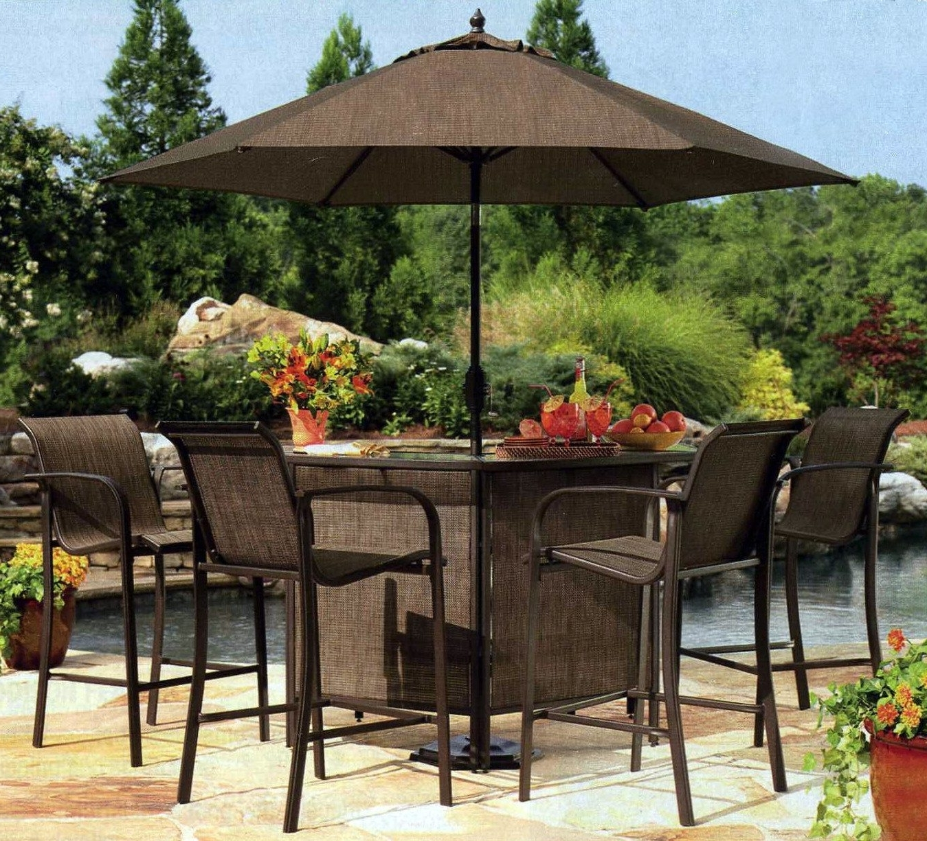 Patio Umbrellas For Bar Height Tables With Regard To 2019 Stylish Patio Bar Chairs Sets Bar Height Outdoor Patio Bar Table And (View 3 of 20)