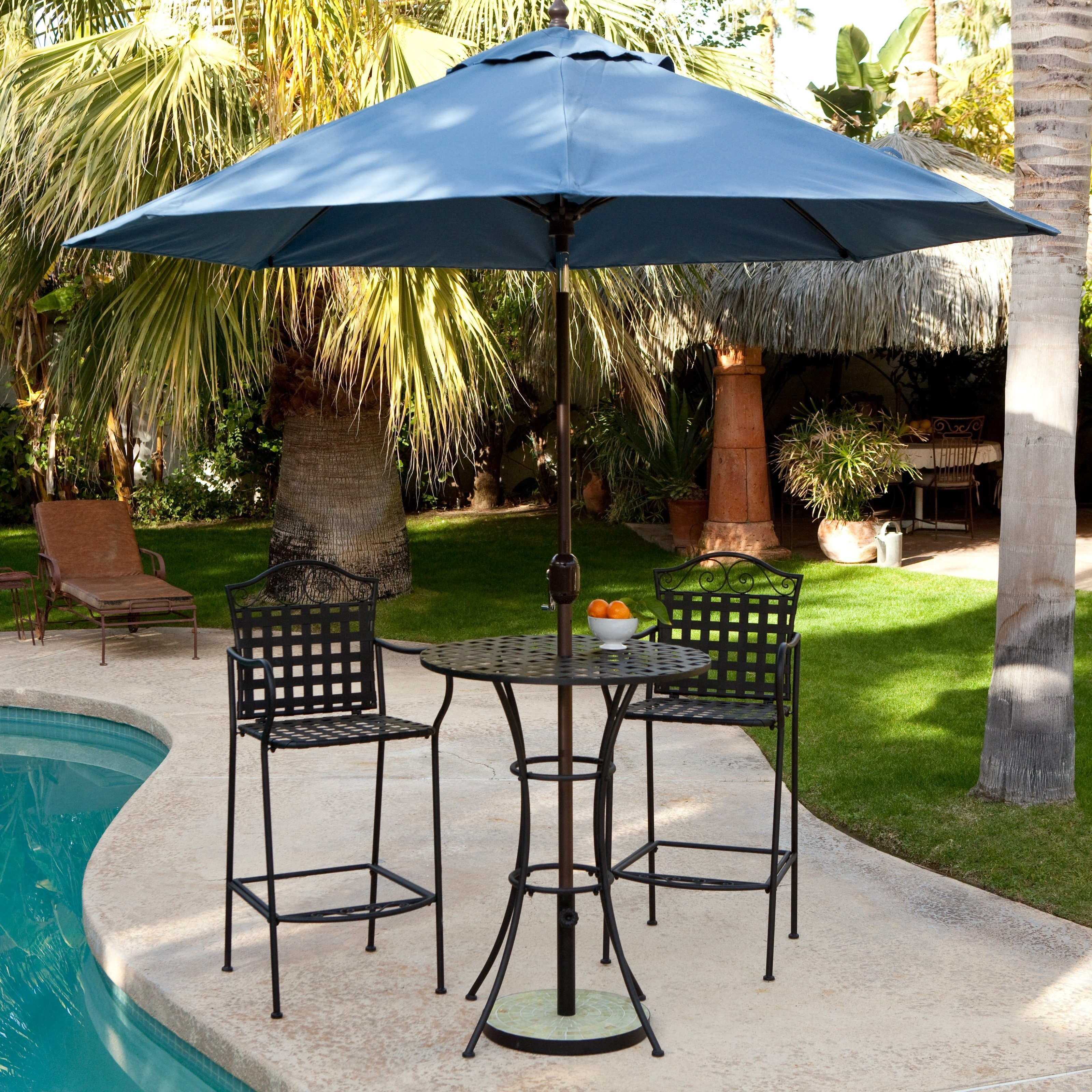 Patio Umbrellas For Bar Height Tables Within Trendy Belham Living Wrought Iron Bar Height Bistro Setwoodard (View 16 of 20)