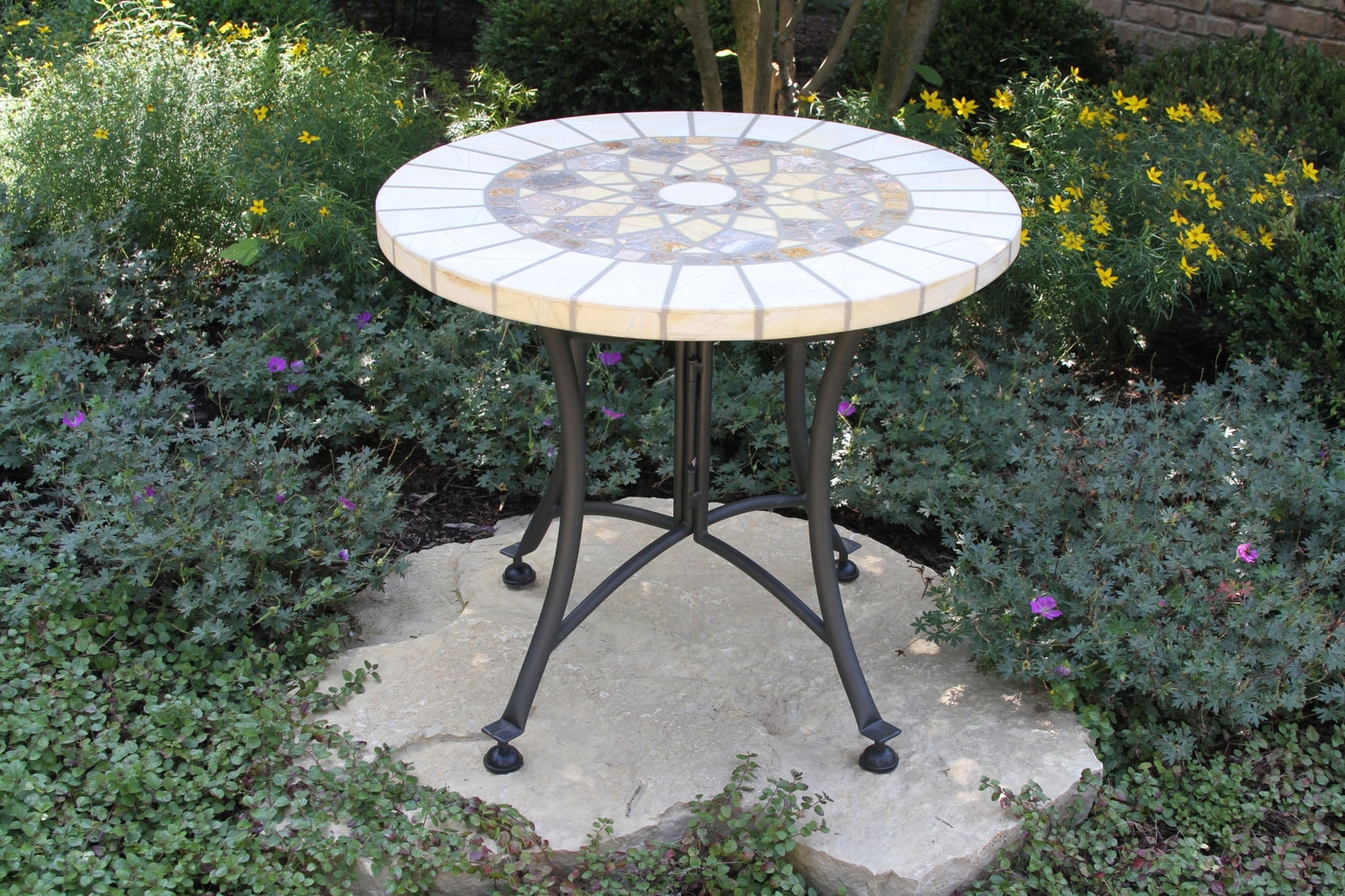 Patio Umbrellas With Accent Table Throughout Trendy Stone & The Hardwoods Collection From Outdoor Interiors (View 16 of 20)