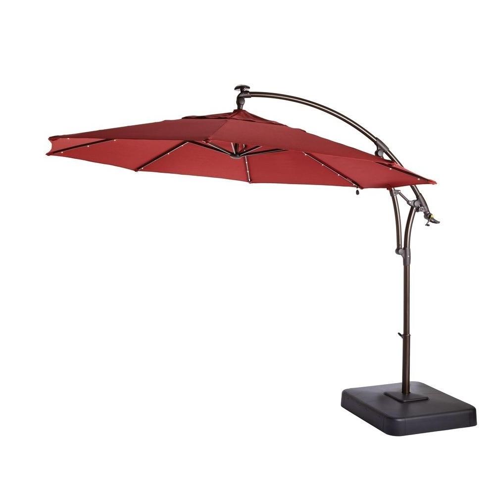 Patio Umbrellas With Led Lights Regarding Fashionable Hampton Bay 11 Ft (View 4 of 20)