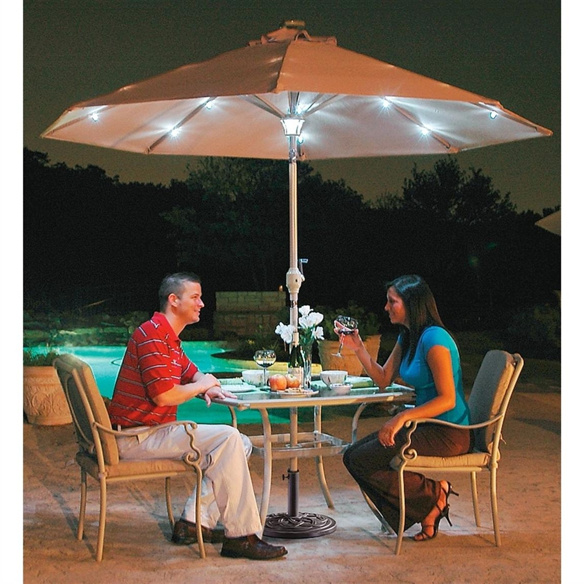 Patio Umbrellas With Solar Lights Design Ideas : Best Photos Of Intended For Most Current Patio Umbrellas With Solar Lights (View 11 of 20)