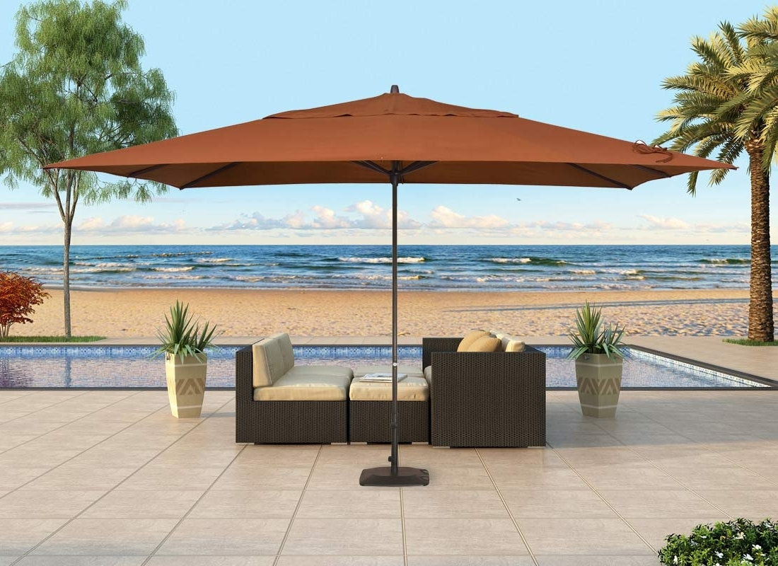 Patio Umbrellas With Sunbrella Fabric Regarding 2018 Contemporary Patio Outdoor With Rectangular Standing Umbrella, And (View 7 of 20)