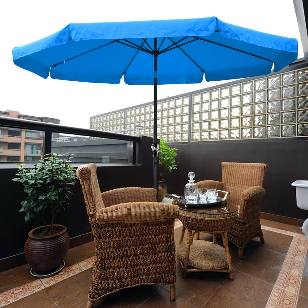 Patio Umbrellas With Valance With Regard To Most Current 10ft Aluminum Outdoor Patio Umbrella W/valance Crank Tilt Sunshade (View 11 of 20)