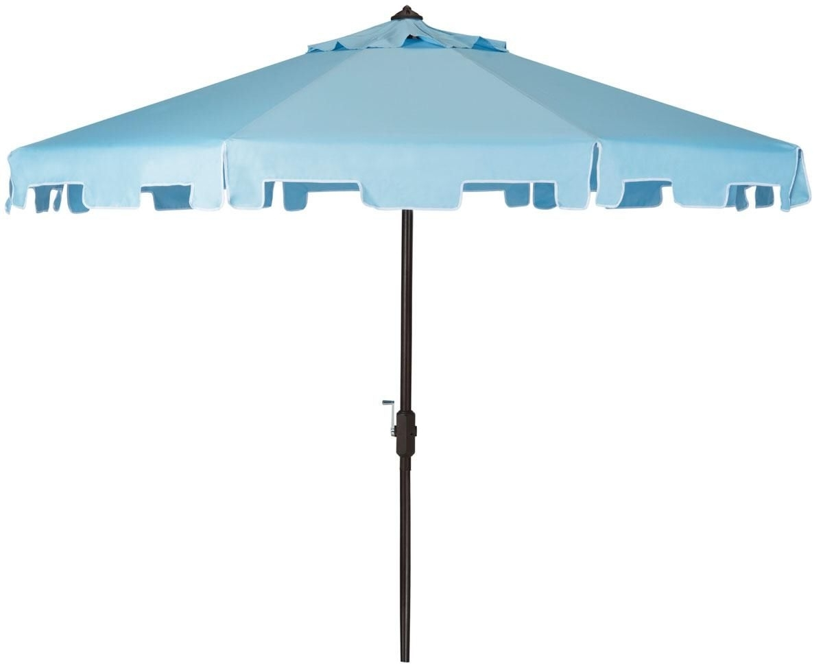Popular 9Ft Crank Market Umbrella With Flap In Blue And White (View 16 of 20)