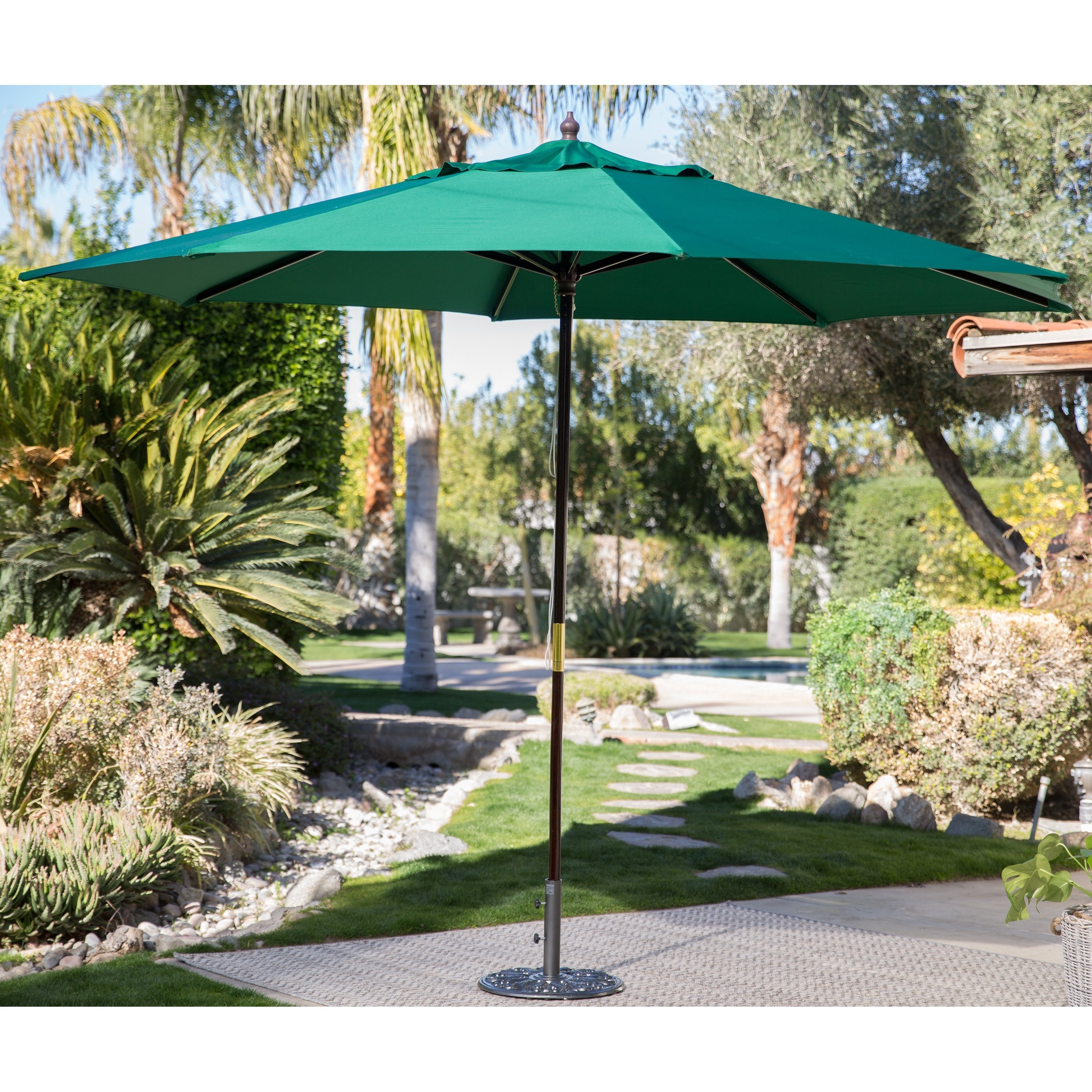 Popular Green Patio Umbrellas Intended For California Umbrella 6 Square Marenti Wood Frame Market Umbrellal (View 19 of 20)