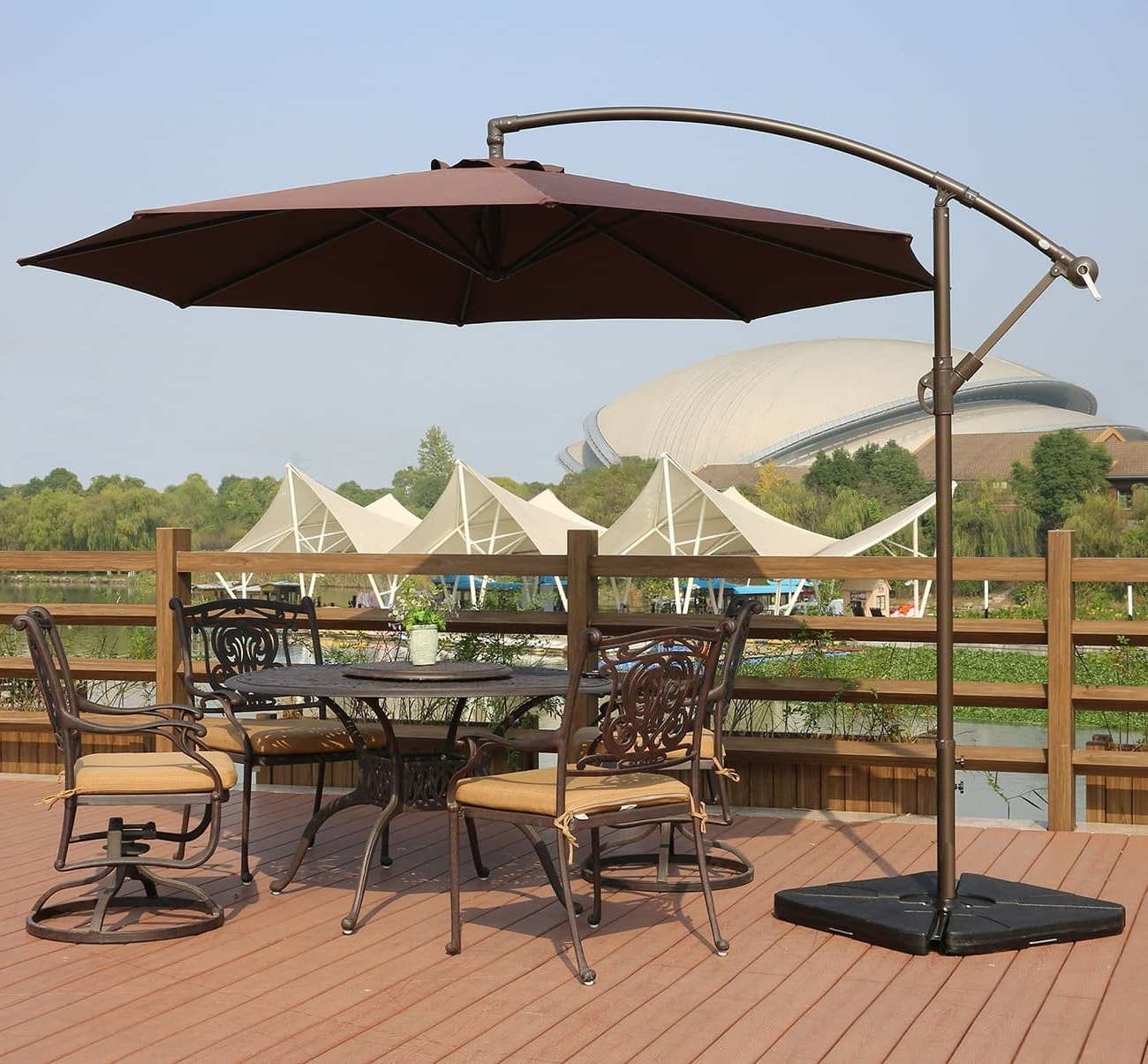 Popular Hanging Patio Umbrellas Pertaining To Top 10 Best Offset Patio Umbrellas In 2018 – Toptenthebest (View 13 of 20)