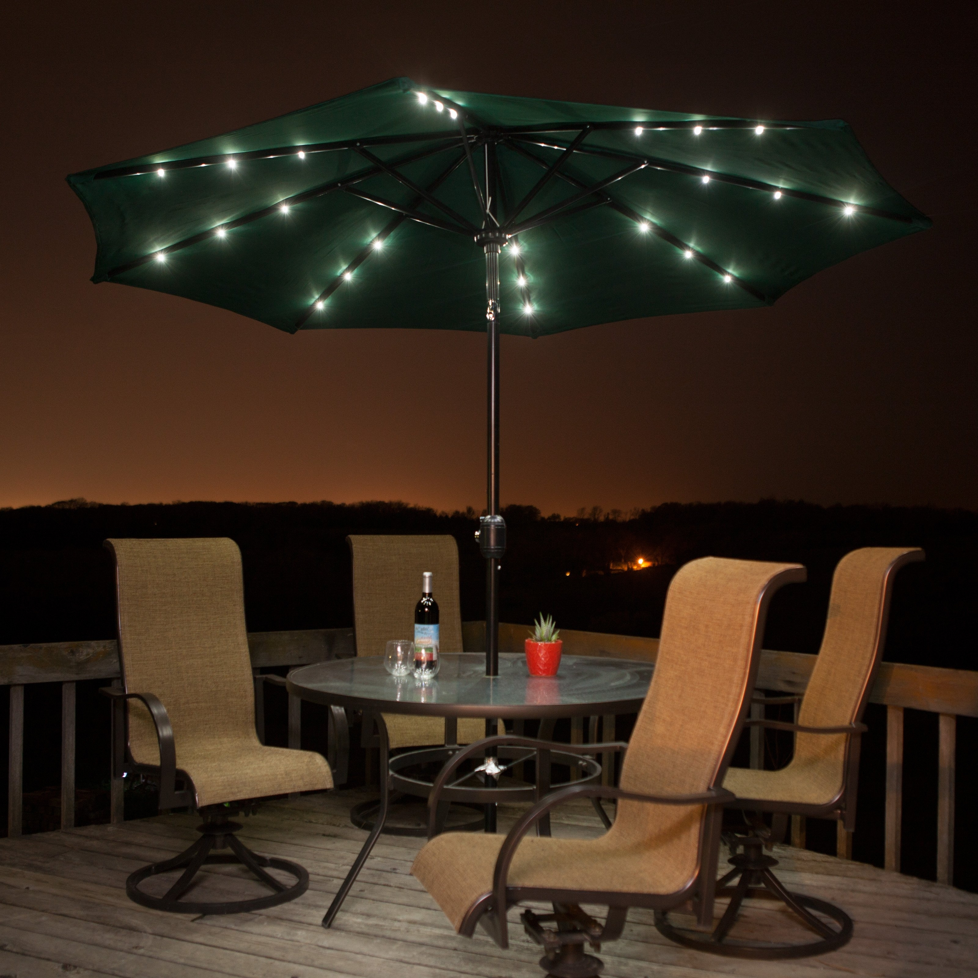 Popular Solar Patio Umbrellas With Regard To Lighted Patio Umbrellas — Mistikcamping Home Design : Different (View 8 of 20)