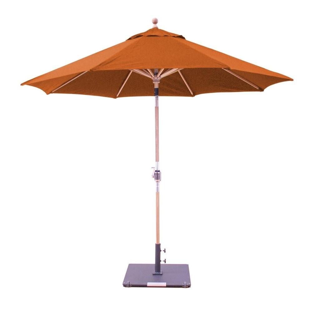 Popular Sunbrella Teak Umbrellas With 9' Teak Round Quad Pulley Sunbrella Umbrella – Patio Furniture Co (View 13 of 20)