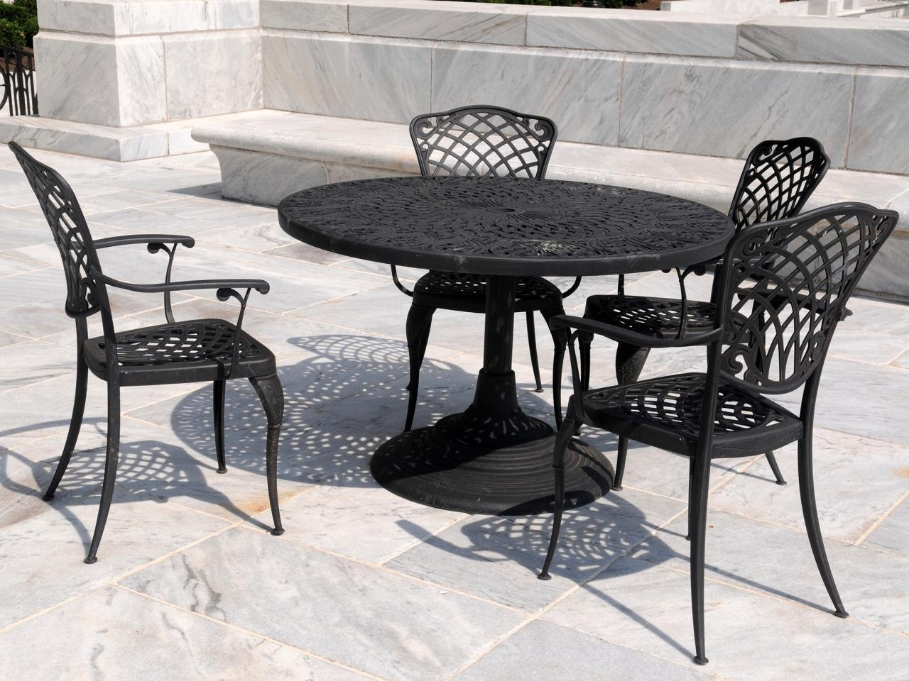 Popular Vintage Patio Umbrellas For Sale Pertaining To Black Wrought Iron Patio Furniture — Wilson Home Ideas : Repairing (View 8 of 20)