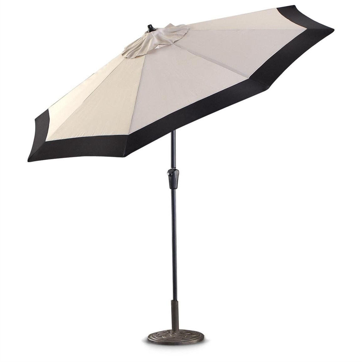 Popular White Patio Umbrellas #5: Castlecreek 9 Two Tone Deluxe Market Patio Regarding Black And White Patio Umbrellas (View 3 of 20)