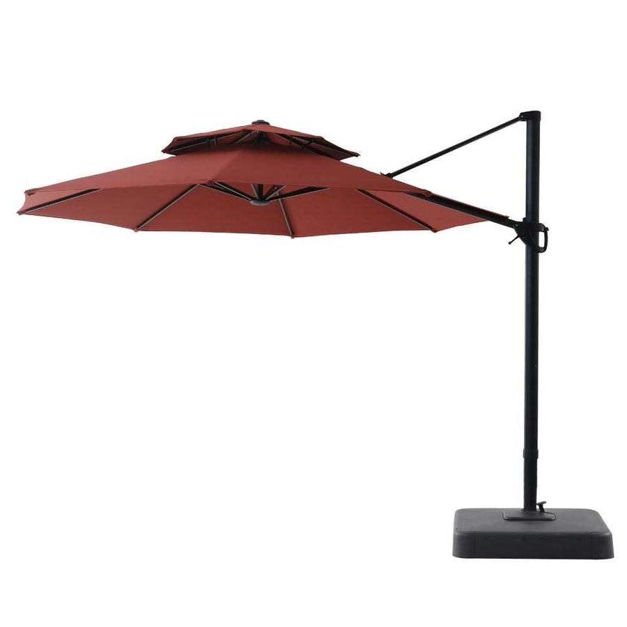 Preferred 11 Foot Patio Umbrellas For Shop Royal Garden Red Offset 11 Ft Patio Umbrella With Base At Lowes (View 18 of 20)