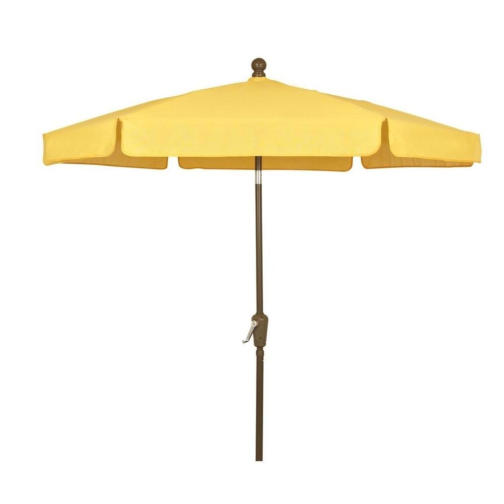 Preferred Fiberbuilt Umbrellas 7.5 Ft. Patio Umbrella In Yellow 7gcrcb T Yl With Regard To Yellow Sunbrella Patio Umbrellas (Gallery 2 of 20)
