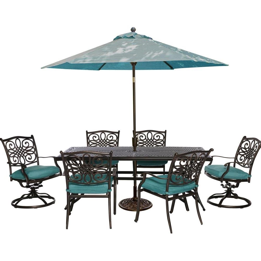 Preferred Patio Table And Chairs With Umbrellas With Hanover Traditions 7 Piece Outdoor Rectangular Patio Dining Set,  (View 17 of 20)