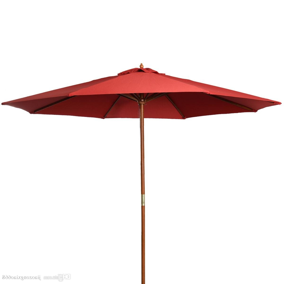 Preferred Red Patio Umbrellas Pertaining To 2018 9Ft Wooden Patio Umbrella Sun Shade Wood Pole Outdoor Beach (View 9 of 20)