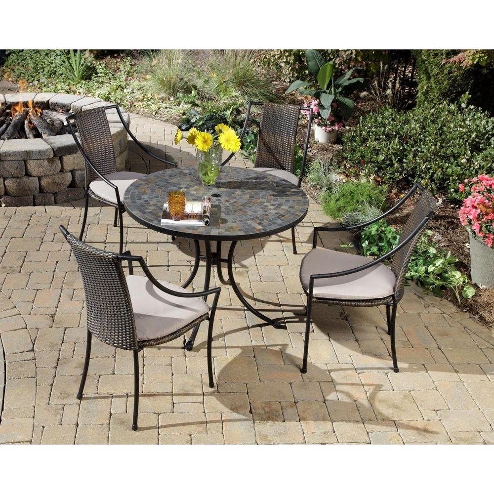 Preferred Small Patio Tables With Umbrellas Hole Within Home Styles Stone Harbor 5 Piece Round Patio Dining Set With Taupe (View 13 of 20)