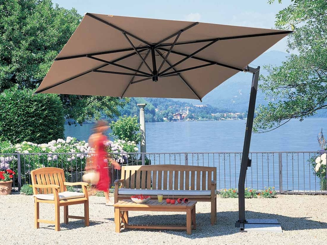 Pretty Square Offset Patio Umbrella Red Polyester Shade Mosquito With Regard To 2018 Square Patio Umbrellas (View 13 of 20)